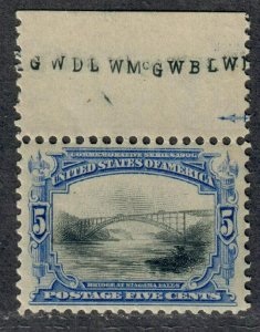 $US Sc#297 M/NH/XF, imprint single-hinged in selvage, Cv. $180