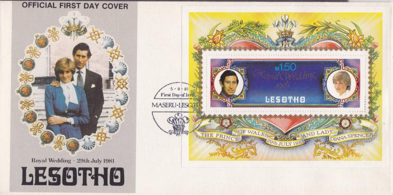 Lesotho 1981 Royal Wedding Princess Diana  Souvenir Sheet First Day Cover VF