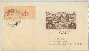 45067 MARTINIQUE - POSTAL HISTORY: REGISTERED COVER from SORBELCHER to USA 1947