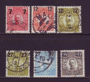 Sweden Sc 99-104 1918 7,12 & 27 ore overprint stamps used