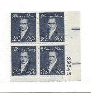 United States, 1292, 40c Thomas Paine Plate Block of 4 #29545 LR, MNH