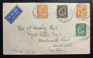 1932 Entebbe Uganda Calcutta Flying Boat Airmail Cover To Cape Town South Africa