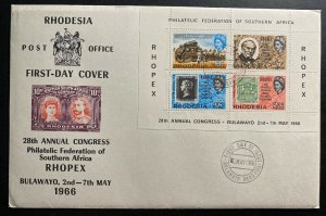 1966 Bulawayo Southern Rhodesia First Day Cover FDC 28th Philatelic Congress