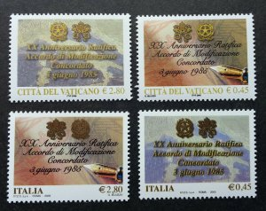 Vatican Italy Joint Issue 20th Anniv Of Modification Agreement 2005 (stamp) MNH