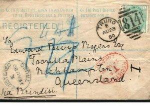 GB AUSTRALIA MAIL *Truro*Cornwall Registered Stationery 1s Green Cover 1880 266f