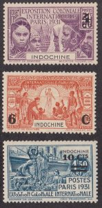 Indo-China # 140-142, Colonial Exposition Surcharged Stamps, Hinged, 1/2 Cat.