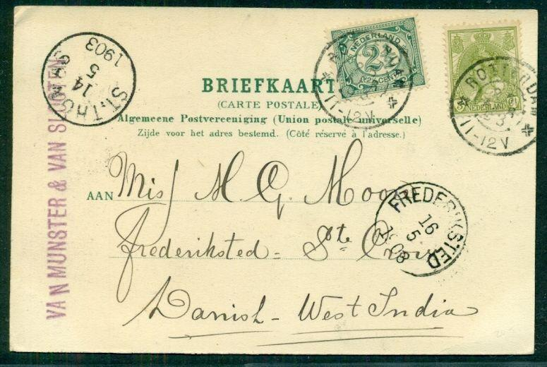 DANISH WEST INDIES 1903 INCOMING postcard from NETHERLANDS w/St. Thomas transit