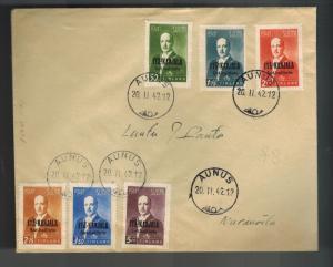 1942 Aunus Finland Stamps Overprinted Complete Set # N22-N27 Military Cover