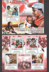 CA823 2012 CENTRAL AFRICA ORGANIZATIONS AMI MEDICAL AID VACCINATION BL+KB MNH