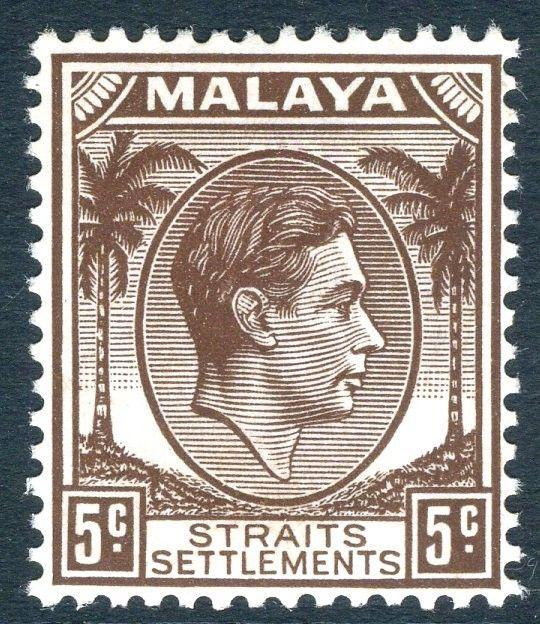 STRAITS SETTLEMENTS-1939 5c Brown, Die II Sg 297 LIGHTLY MOUNTED MINT V18745