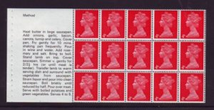 Great Britain Sc MH7d 1969 4d Machin cook book booklet pane of 15 mint NH