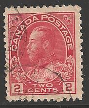 Canada 1911 King George V, 2 cents, Scott #106, used