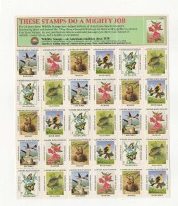 USA National Wildlife Federation Spring Stamps 1982 Sheet of 30 MNH