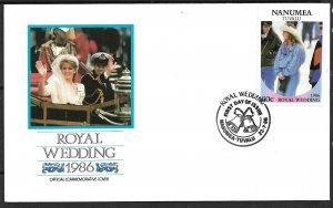 TUVALU NANUMEA 1986 60c Sarah Ferguson Royal Wedding Sc 66 FDC