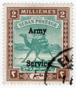 (I.B) Sudan Postal : Army Service 2m (heavy overprint)