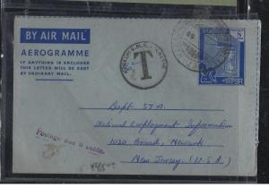 PAKISTAN (P2304B)  8A AEROGRAMME  TO USA SHORT PAID TAXED 6C