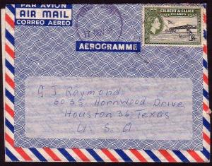 GILBERT & ELLICE IS 1959 formular airletter commercial use to USA..........37293