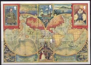 Virgin Islands 394a MNH Map, Ships, Drake, Queen Elizabeth I, Circumnavigation