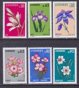 French Andorra 222-27 MNH OG 1973-74 Various Types of Flowers Full Set Very Fine