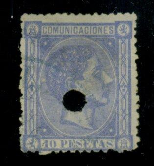 Spain #221 Used Punched Hole Cancel Cat$17.50