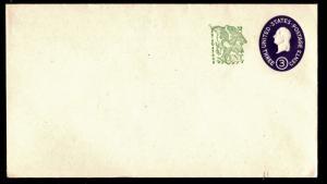 #U540b Washington Surcharged Stamped Envelope Die 4 - Mint
