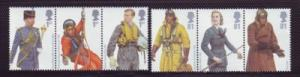Great Britain Sc 2594-99 2008 RAF Uniforms stamp set mint NH