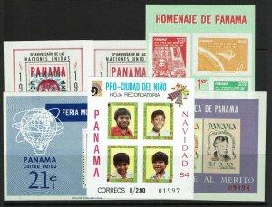 Panama 6 Souvenir Sheets, Mint, few faults - S11739