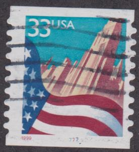 US #3281 Flag over City Used PNC Single plate #7777