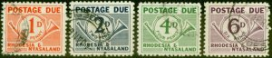 Rhodesia & Nyasaland 1961 Postage Due Set of 4 SGD1-D4 Fine Used