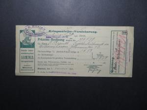 Germany 1918 Insurance Receipt / ARMINIA / Light Folds / Few Pinholes - Z12234