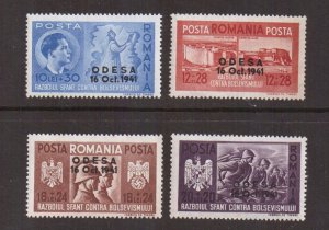Romania #B175-B178  MNH 1941  occupation of Odessa  overprinted