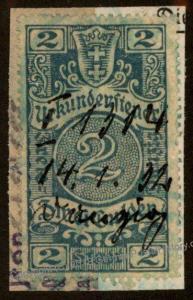 Danzig Frei Stadt Poland Germany 2 Gulden Urkundensteuer Document Revenue  90891