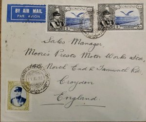 O) 1935 IRAN, ASIA, REZA SHAH PAHLAVI AND EAGLE, AIRMAIL CIRCULATE TO ENGLAND