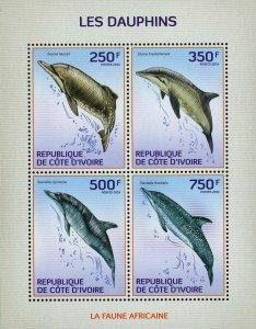Dolphin Stamp Sousa Teuszii Steno Bredanensis Stenella Clymene S/S MNH