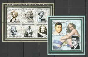 NS0078 2002 MOZAMBIQUE TRIBUTE TO LEGENDARY MARILYN MONROE & KENNEDY BL+KB MNH