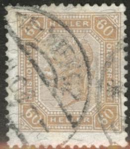 Austria Osterreich Scott 104a used white numbers 60h 1904
