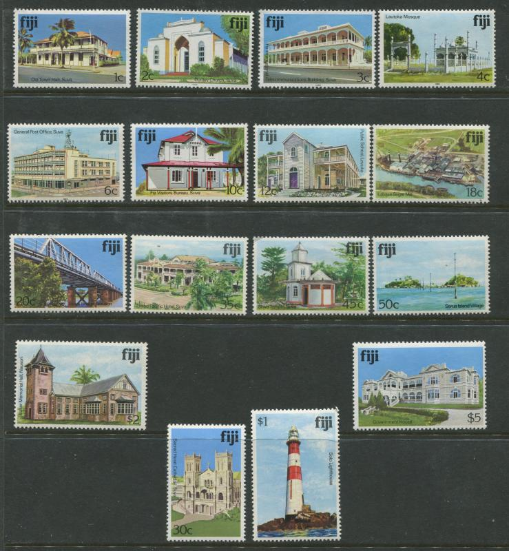 Fiji - Scott 409-425 - Buildings Issue 1979- MNH - Short Set of 16 Stamps