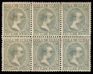 CUBA STAMP 1896 -1897 King Alfonso XIII MNH/OG BLK OF 6