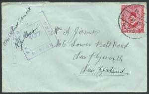 NEW ZEALAND FORCES IN EGYPT 1940 cover 10m Army Post censor to NZ..........41546