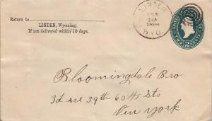 United States Wyoming Linden 1894 target  1888-1910  Postal Stationery Envelope.