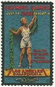 1932 Summer Olympic Games, Los Angeles, CA., Poster Stamp / Cinderella Label