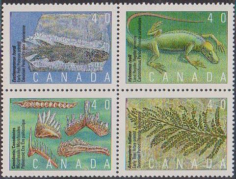 Canada #1306-1309 Mint VF-NH Face Alone $1.60 1991 Prehistoric Life in Canada