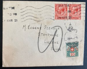 1921 Bath England Postage Due Cover To Lucerne Switzerland