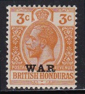 British Honduras SC#MR3 George V 3c War Tax (1918) MH