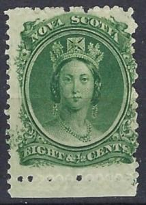 NOVA SCOTIA  1860  8½c Green  on white paper   SG26  m mint  Please check Perfs