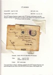 1918, AEF in BEF: FPO D. 33, 302nd Eng., 77th Div.,See Remark (M3928)