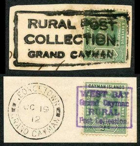 Cayman Is SG41 Two RARE RURAL POST handstamps on Pieces