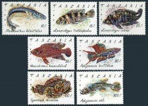 Tanzania 816-822,823,MNH.Michel 1040-1046,Bl.168. Fish 1992.