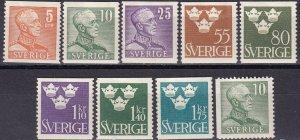 Sweden #391-99  F-VF Unused  CV $24.80 (Z5305)