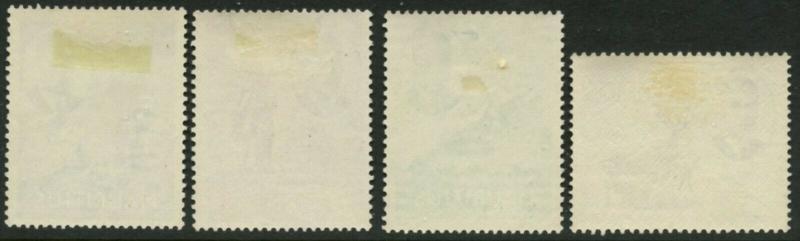 Mauritius Sc # 242, 243, 245, 246 1950 KGVI Pictorials Milieu Valeurs Charnière